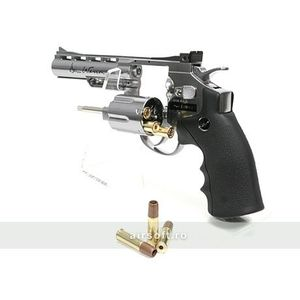 REVOLVER DAN WESSON 4 INCH SILVER - FULL METAL - GNB - CO2 imagine