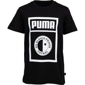 Puma SLAVIA PRAGUE GRAPHIC TEE JR gri închis 140 - Tricou de juniori imagine