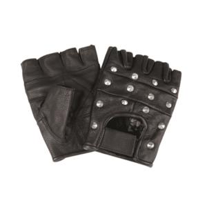 Mil-tec biker mănuși fără degete cu nituri, negru imagine