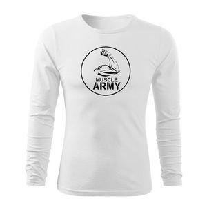 WARAGOD Fit-T tricou cu mânecă lungă muscle army biceps, alb 160g/m2 imagine