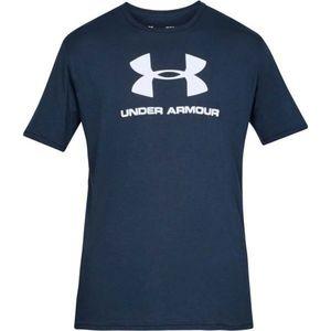 Under Armour SPORTSTYLE LOGO SS albastru închis XL - Tricou de bărbați imagine