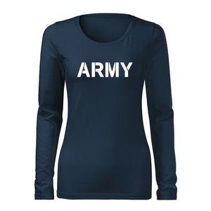 WARAGOD Slim tricou de damă cu mânecă lungă army, albastru-închis 160g/m2 imagine