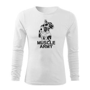 WARAGOD Fit-T tricou cu mânecă lungă muscle army, alb 160g/m2 imagine