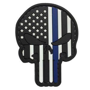 WARAGOD Petic 3D US Patriot Punisher blue line 7.5x5cm imagine